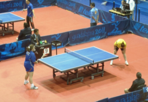 Melissa (blue) during a match at the 2011 Parapan Am Games in Guadalajara, Mexico.