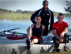 Athletes Without Limits Rowing Program Director Patrick Johnson with Oksana Masters and Rob Jones