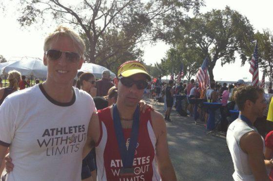 Triathlete Sean O'Rourke with Coach Barry Holman